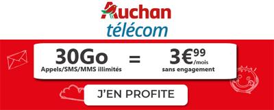 Forfait Auchan Telecom 30Go à moins de 4€
