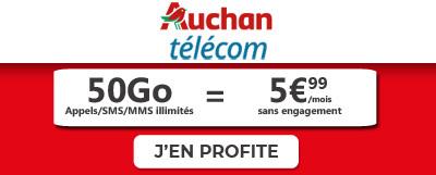 Promo auchan Telecom forfait 50Go