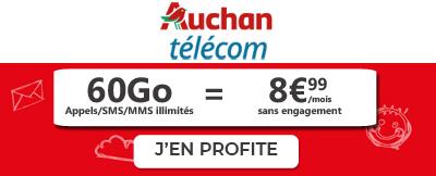 Forfait Auchan 60Go à 8,99€
