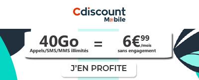 Forfait mobile40 Go à 6,99€ en promo chez Cdiscount Mobile