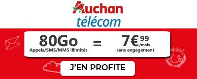 Forfait illimité 80Go Auchan Telecom en promotion à 7.99€
