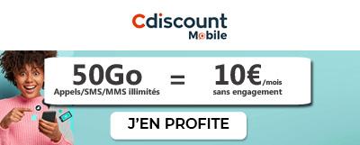 Forfait illimité 50Go Cdiscount Mobile en promotion à 10€ par mois à vie