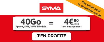 Forfait 40 Go en promo moins 5 euros Syma Mobile