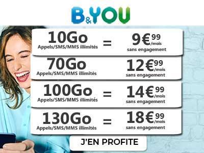 forfaits B and You 10Go à 130Go