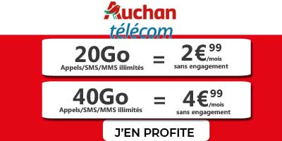 Forfaits 20Go et 40Go Auchan Telecom