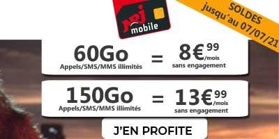 Deux forfaits pas chers 60Go et 150Go en promo pour quelques jours chez NRJ Mobile