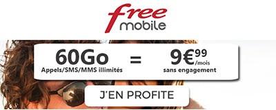 Forfait Free Mobile 60Go de 4G