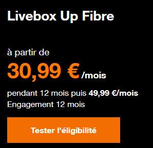 Promo Orange Livebox Up Fibre à 3à,99€ par mois