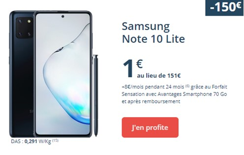 Samsung Galaxy Note 10 Lite Bouygues Telecom