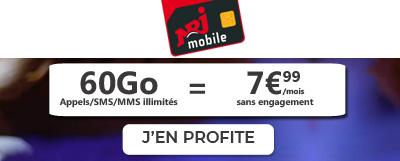 Promo NRJ Mobile 60 Go à 7,99€
