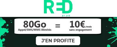 Forfait 80Go à 10 euros chez RED