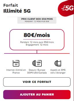 Forfait illimité 5G de SFR