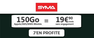 Forfait 5G 150 Go de Syma Mobile