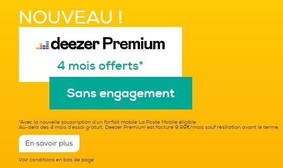 deezer gratuit avec la poste mobile