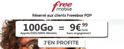 forfait free 100 go spécial freebox pop