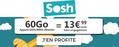 Forfait Sosh 60Go à 13,99€