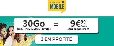 Forfait La Poste 30Go à 9.99€ par mois à VIE