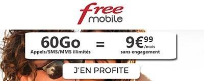 forfait Free 60Go à 9.99€