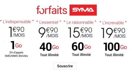 forfaits syma mobile