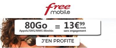 Forfait Free 80Go à 13,99€