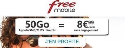 Forfait Free 50Go à 8.99€