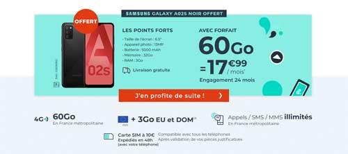 Samsung Galaxy A02s offert avec un forfait 60Go Cdiscount