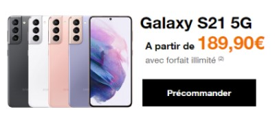 Precommande Galaxy S21 chez Orange