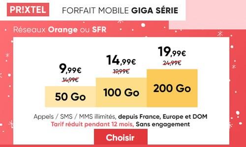 Promo forfait mobile jusqu'à 200Go