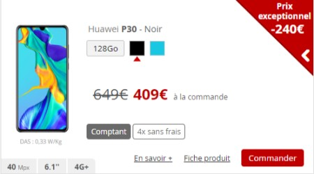 Promo Huawei P30 Free Mobile