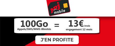 Forfait NRJ Mobile 100Go à 13 euros à vie
