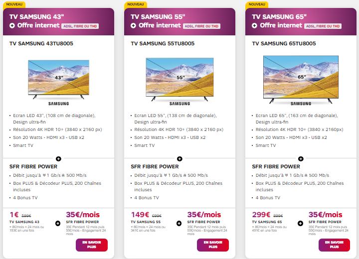 internet plus tv SFR