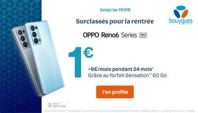 Oppo Reno6 avec un forfait sensation Bouygues Telecom