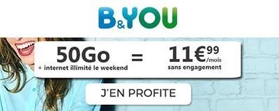 Forfait B&You 50Go promo