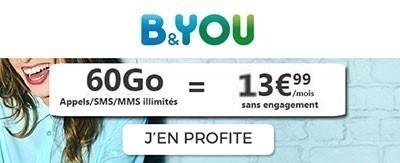 Forfait B&You 60Go promo