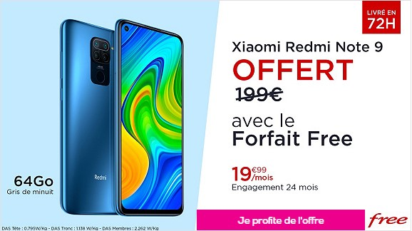 vente privée free mobile redmi note 9
