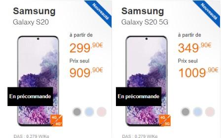 Samsung Galaxy S20 precommande chez Orange