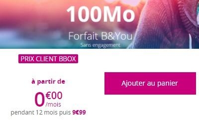Forfait B&You à 0€ clients BBOX
